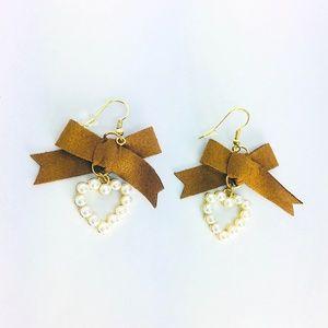 New! Bowknot Faux Pearl Heart Dangle Earrings
